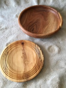 mesquite bowl and spaulted maple bowl