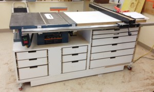 tablesaw stand. protable, 12 drawers, dust collection port